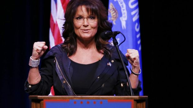 Former Alaska governor Sarah Palin gets pumped up at rally for Republican presidential candidate Donald Trump.