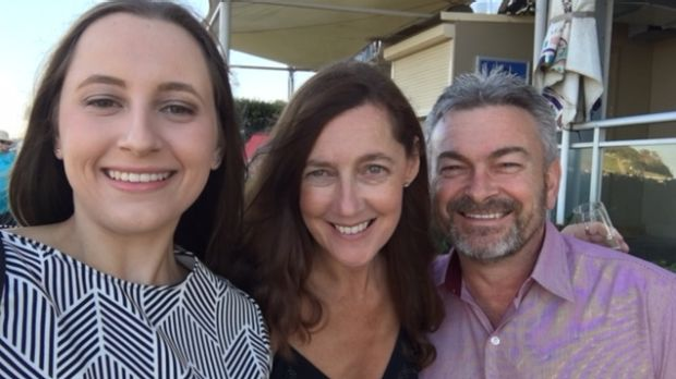 Karen (centre) and Borce Ristevski with their daughter Sarah.