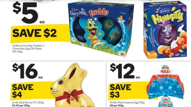 Woolworths' Easter catologue shows how it has ditched the 99¢ from its prices.