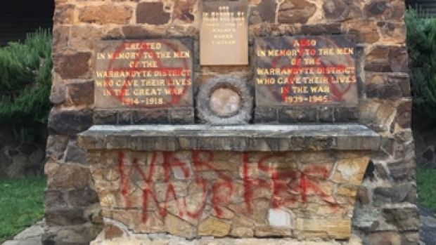 The RSL will try to remove the graffiti in time for Tuesday's Anzac Day march.