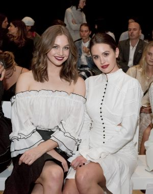 Ksenjia Lukich (left) and Jesinta Franklin attend the Aje show at the Art Gallery of NSW on Monday.