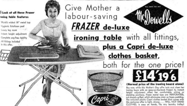 A Mother's Day advertisment from 1961 shows an ironing table, which in today's dollars would be worth around $417.