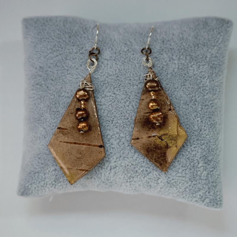 Brown Pearl & Gold Birch Kite Earrings
