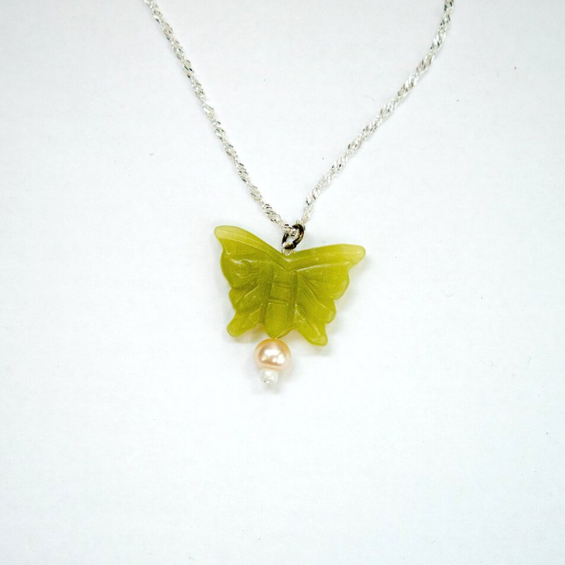 serpentine pearl butterfly necklace