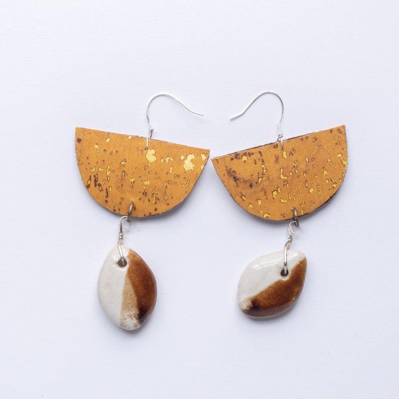 half moon yellow cork drop earrings