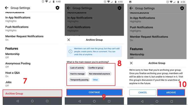 How to Archive a Facebook Group on Android