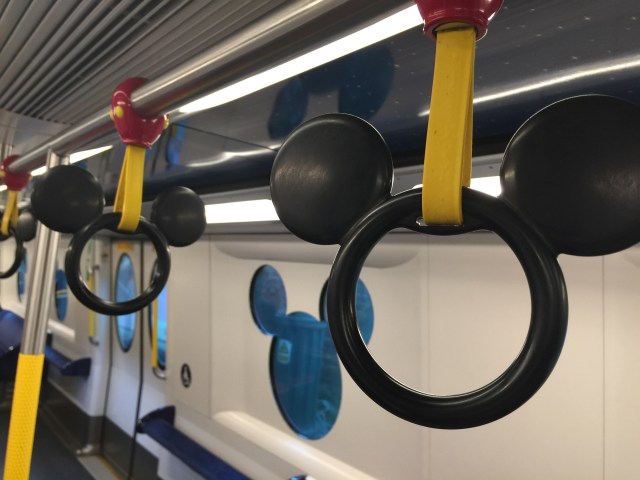 Mickey Mouse shaped handles for the train to Disneyland Hong Kong