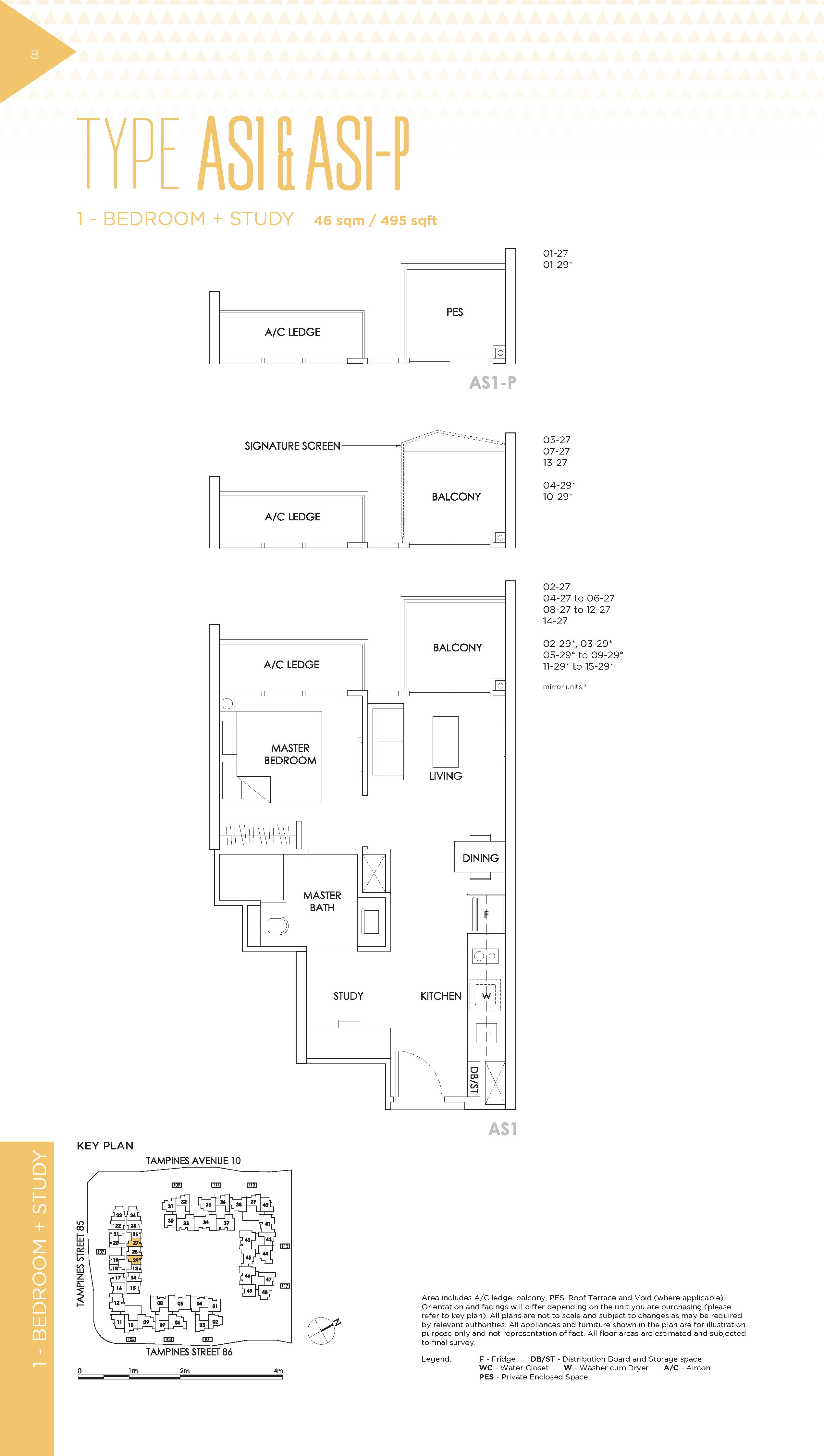 The Alps Residences 1 Bedroom + Study Floor Plans Type AS1 & AS1-P
