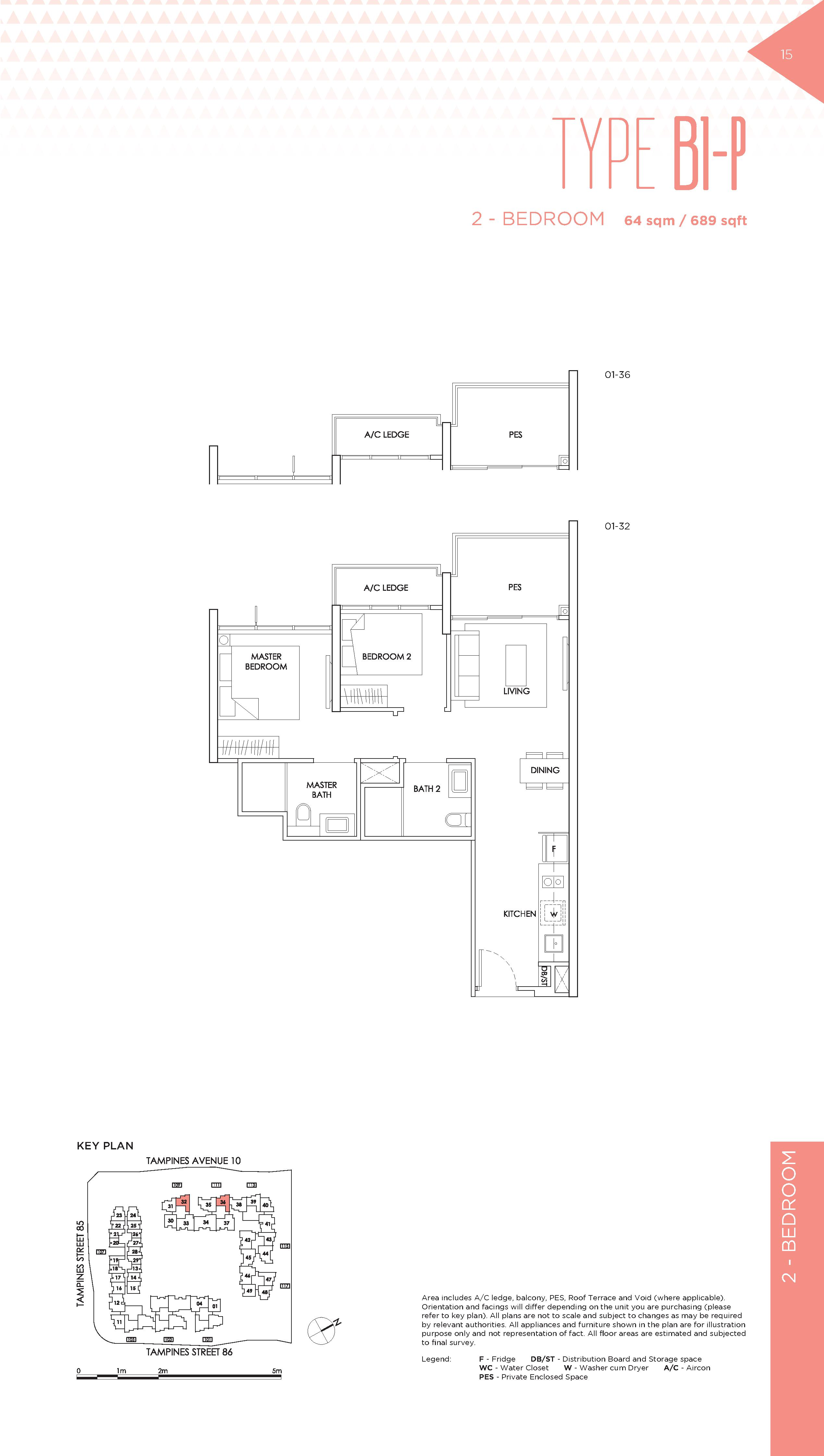 The Alps Residences 2 Bedroom Floor Plans Type B1-P