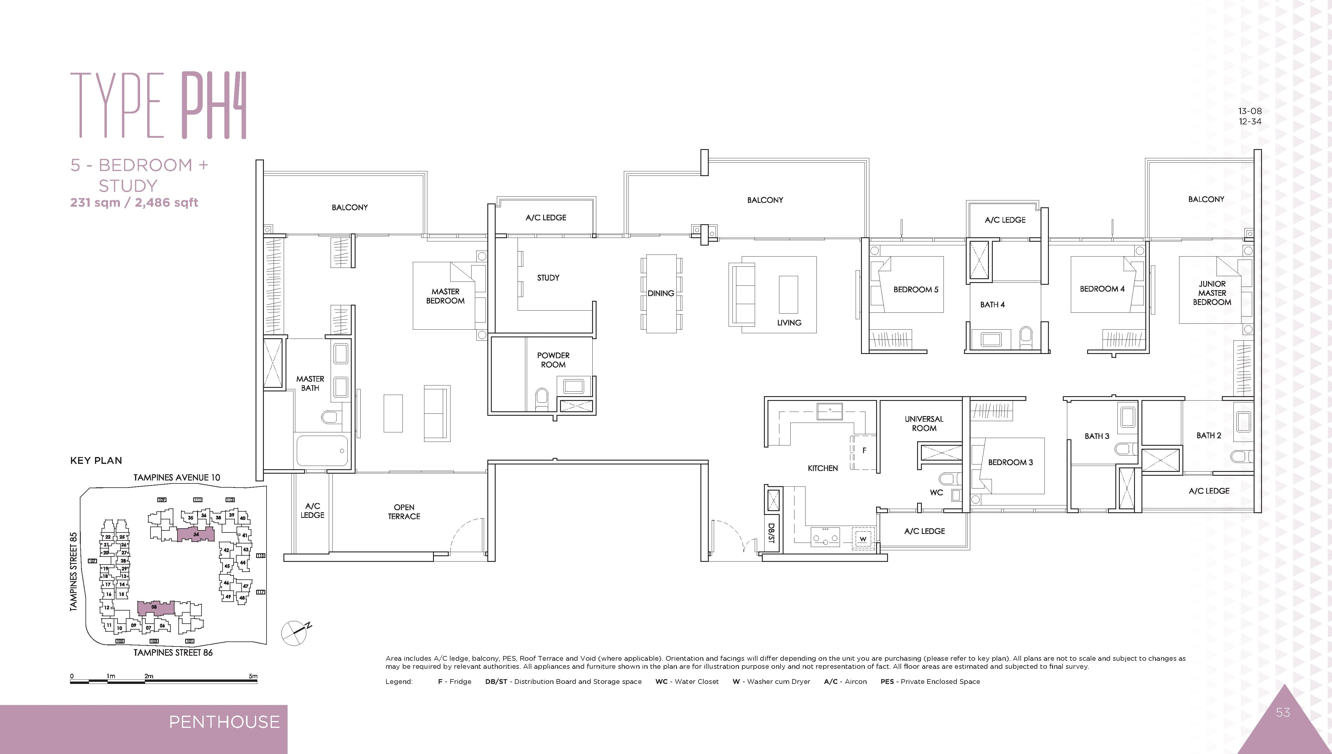 The Alps Residences 5 Bedroom + Study Penthouse Floor Plans Type PH4
