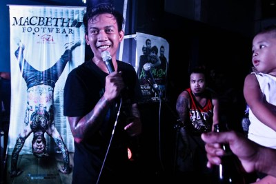 Tata Aguiero, Embercore's vocalist speaks in between songs during their 8th anniversary gig at Southrock Skatepark in Calamba, Laguna. Photo by: Kimmy Baraoidan