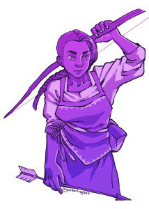 Jessamy has a half shaved head, with the other half in a long braid. She wears a tunic and has a bow and arrow. She is colored in shades of purple