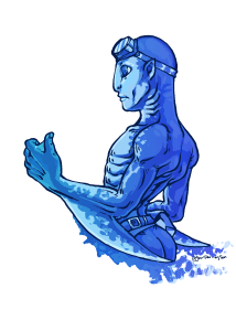 Mako is bald with pointed ears, he is bald and has googles on his head. He has gills and skin like a shark with forearm blades that looks like shark fins. He is not wearing a shirt. He is colored in shades of blue.