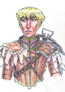 Rigel is solemn with fur incorporated into his armor and a crossbow on his back. His hair is sunbleached.