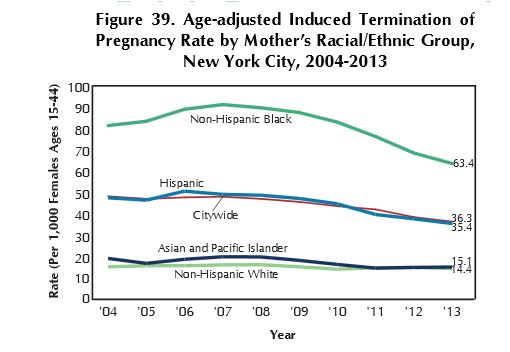 NYC abortion per capita 2013 chart