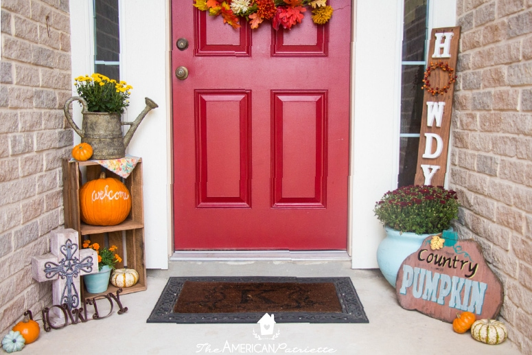 decorating a small front porch for fall