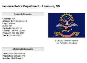 The one man, LaMore Police Department, now closed