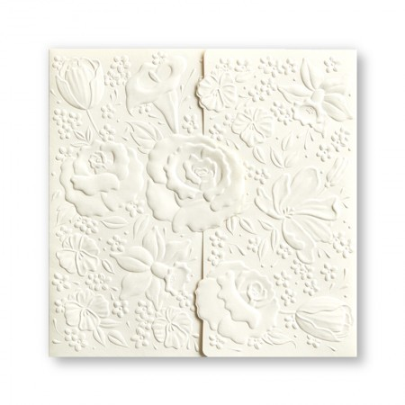 Embossed Large Flower Warm White Wedding Invitations