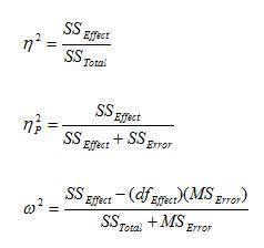 Effect Size Forulas