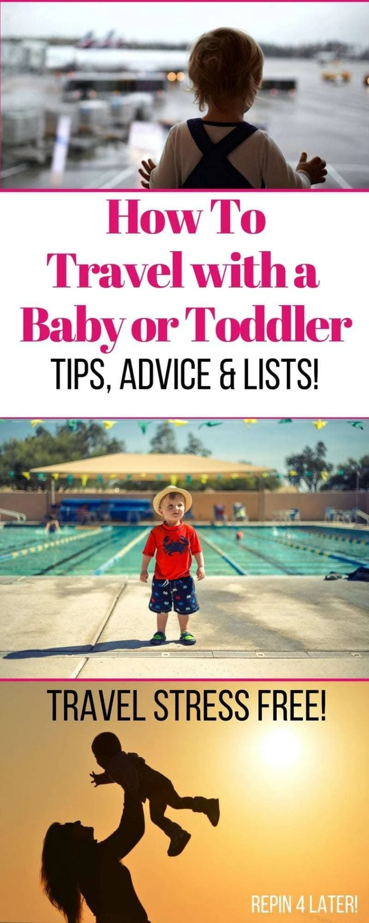 Traveling with a baby doesn't need to be stressful! Follow these easy tips and advice to make the experience stress free and enjoyable for you and baby or toddler!