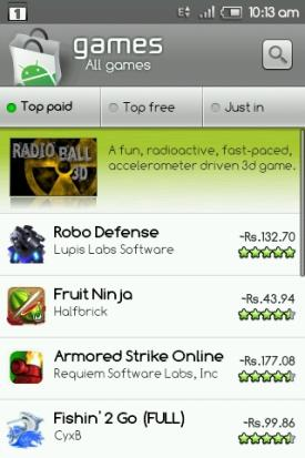 Android Market India Paid Apps