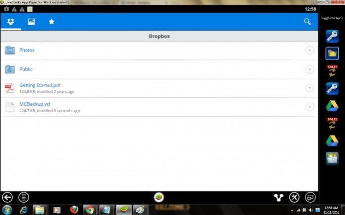 Dropbox dashboard