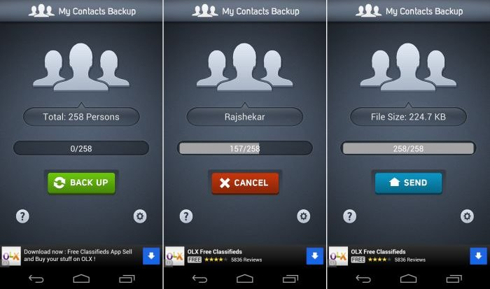 My Contacts Backup app