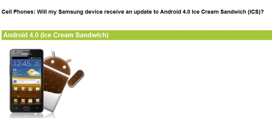 Samsung Android 4.0 Roadmap US Carriers