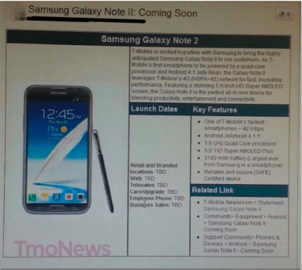 T-Mobile Galaxy Note 2 Specs