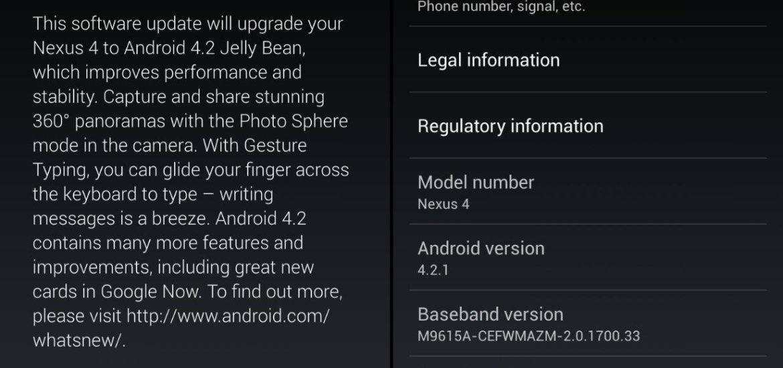 Nexus 4 Android 4.2.1 Update