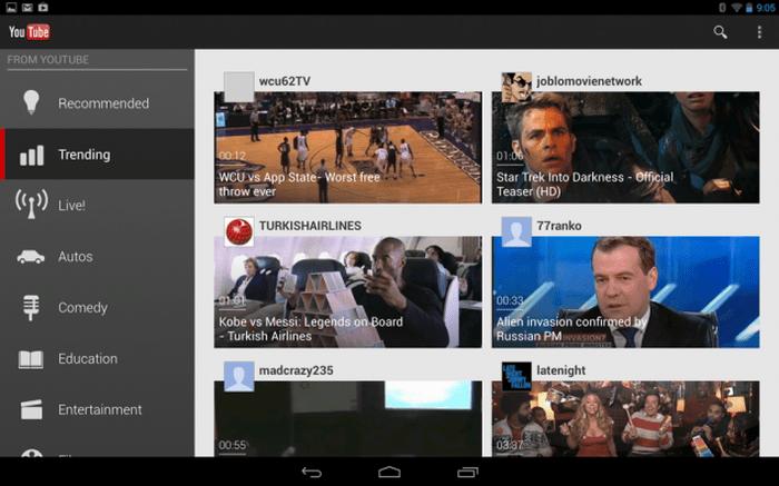New Youtube UI 10 inch