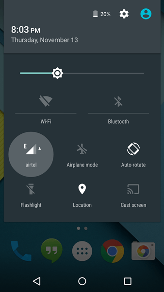 Data toggle on Android 5.0 Lollipop Screen 1