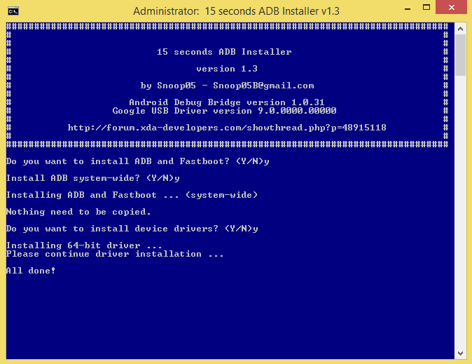 15 Seconds ADB and Fastboot Installations