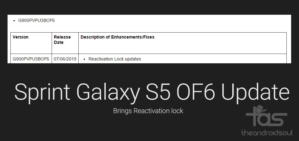 Sprint Galaxy S5 OF6 Update