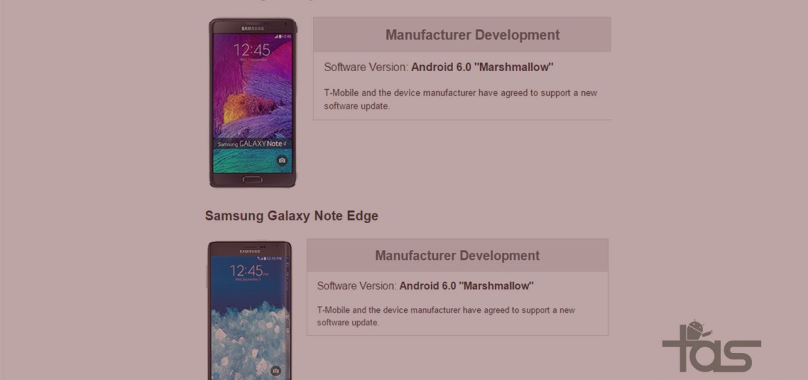 T-Mobile Note 4 Note Edge Marshmallow update release