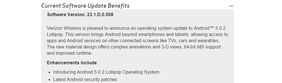 Verizon Xperia Z2 tablet lollipop update