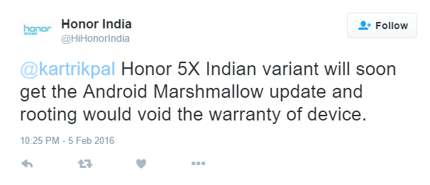 Honor 5X Marshmallow update release plan