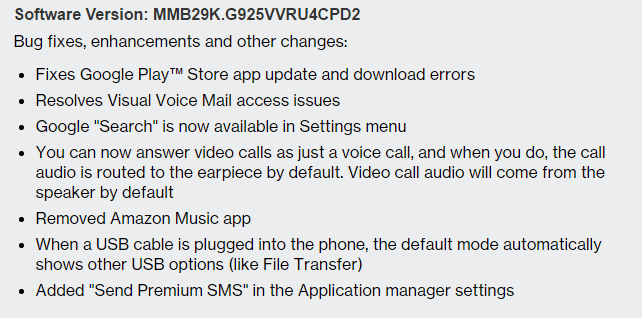 verizon galaxy s6 edge pd2 update
