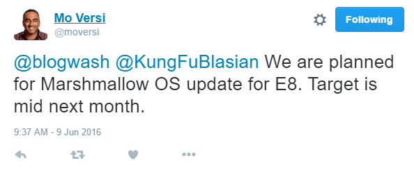 one e8 Marshmallow release