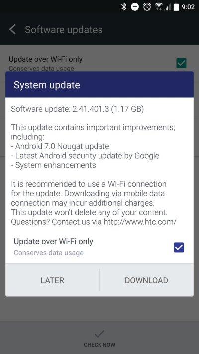 HTC 10 Nougat UK 2.41.401.3