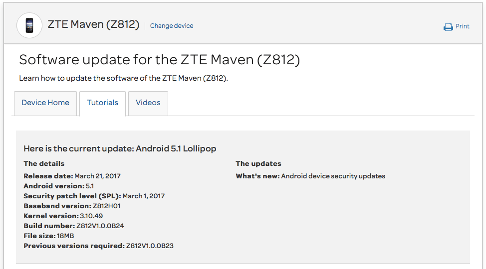 AT&T ZTE Maven Z812 March security patch