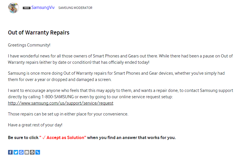 samsung out of warranty repairs