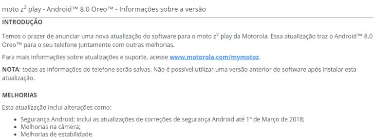 moto z2 play Oreo update