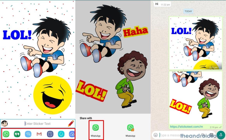 WhatsApp sticker with text