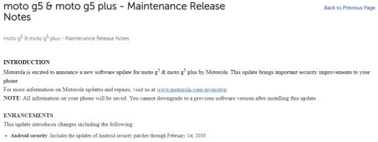Moto G5 Plus update February