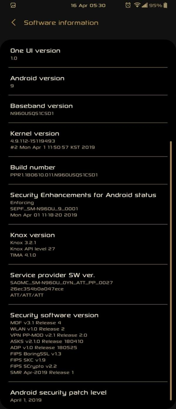 AT&T Galaxy Note 9 April 2019 patch