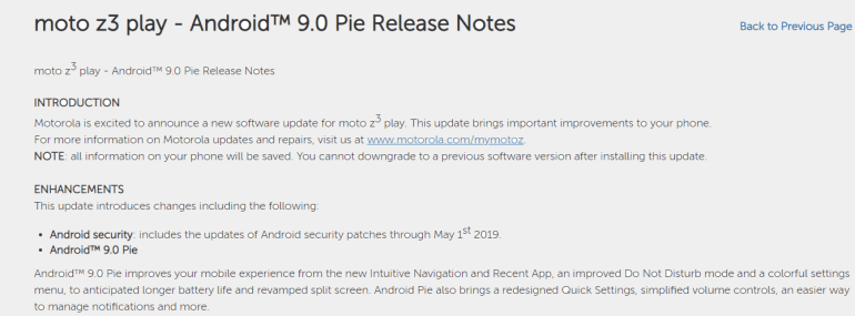 Moto Z3 Play Pie update with May patch