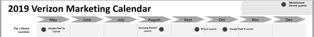 2019 Verizon calendar