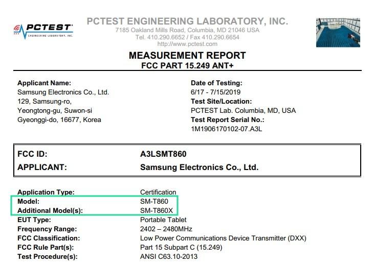 Tab S6 FCC