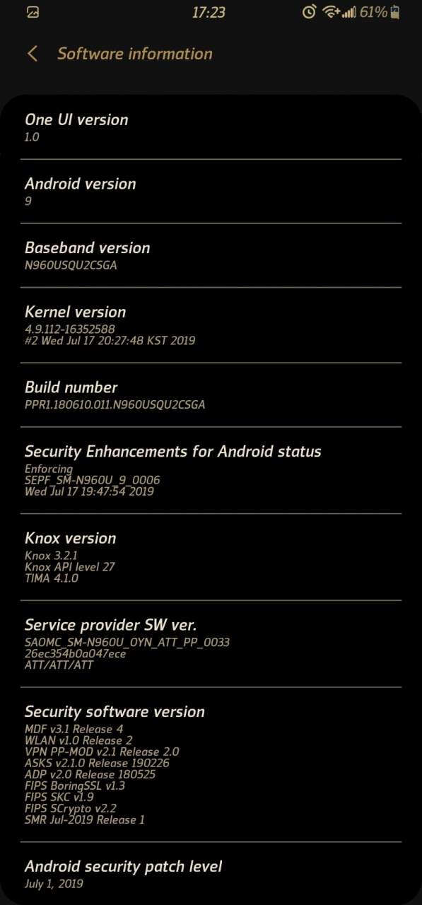 AT&T Note 9 July update